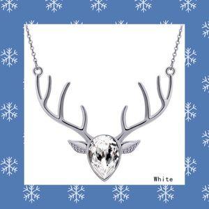 Silver & Sparkling Crystal Deer Necklace NEW!